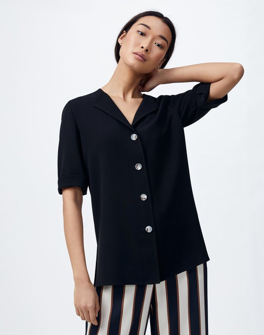Plus-Size Finesse Crepe Zimmer Blouse