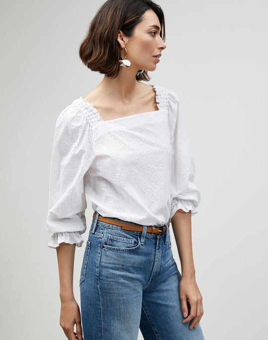Micro Grid Cotton Eyelet Bevins Blouse