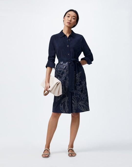 Lush Lambsuede Floral Appliqué Manuela Duster Dress