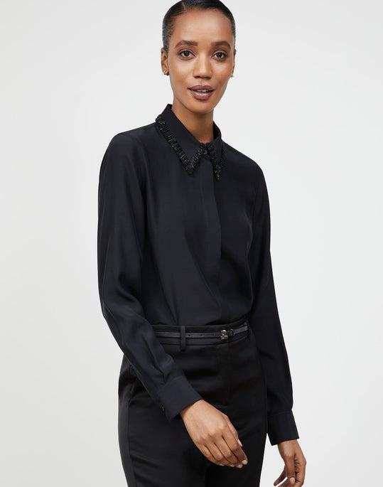 Plus-Size Matte Silk Matthews Blouse