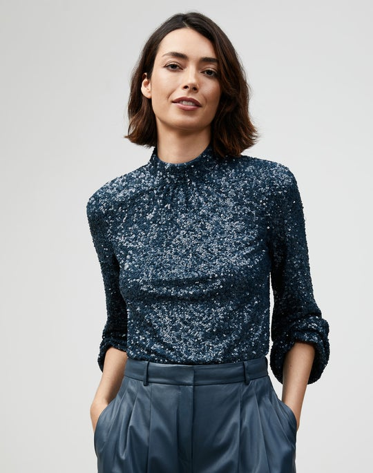 Shimmering Sequins Axton Blouse