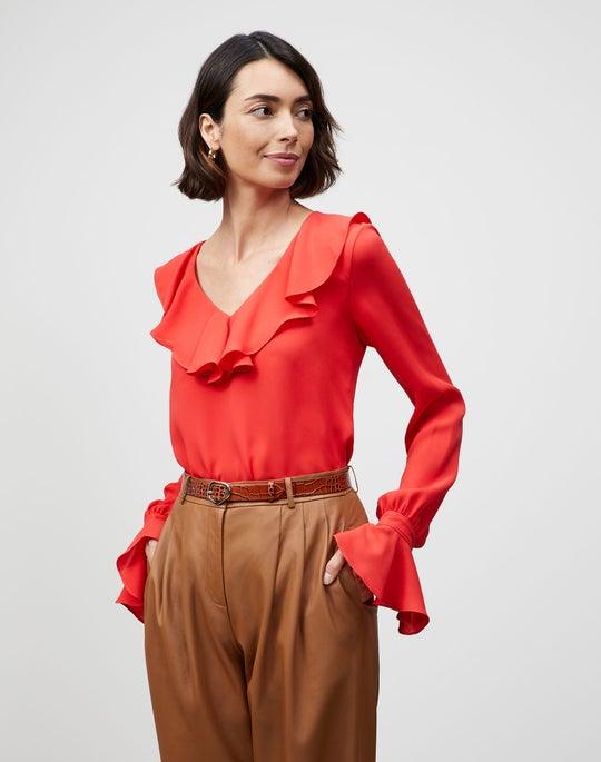 Plus-Size Silk Double Georgette Sana Blouse