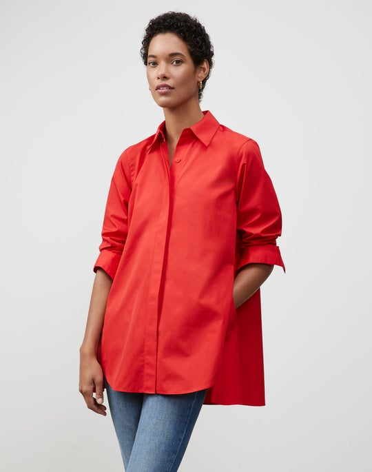 Plus-Size Italian Sculpted Cotton Carolyn Shirt