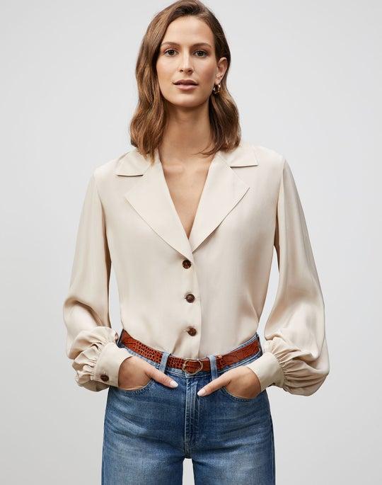 Plus-Size Matte Silk Therese Blouse