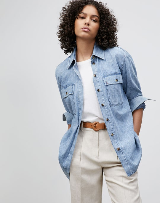 Ezra Shirt Jacket In Italian KindCotton Chambray