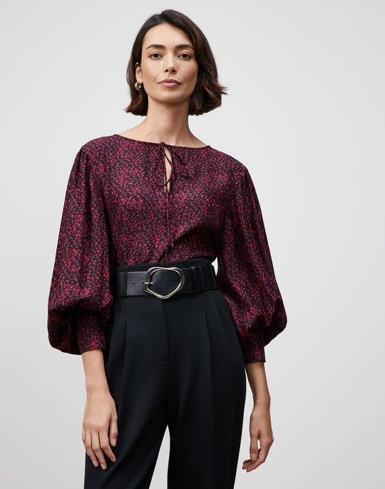 Plus-Size Falling Dot Print Izabel Blouse
