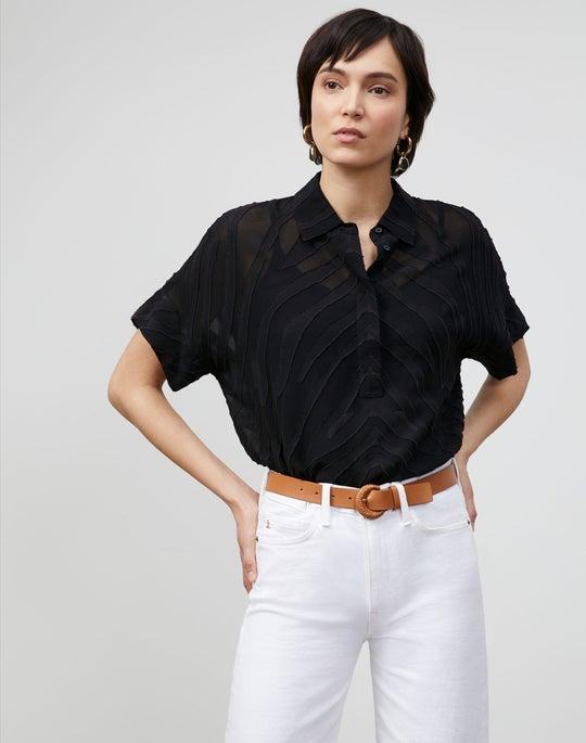 Mavis Shirt In Refined Italian Zevron Jacquard