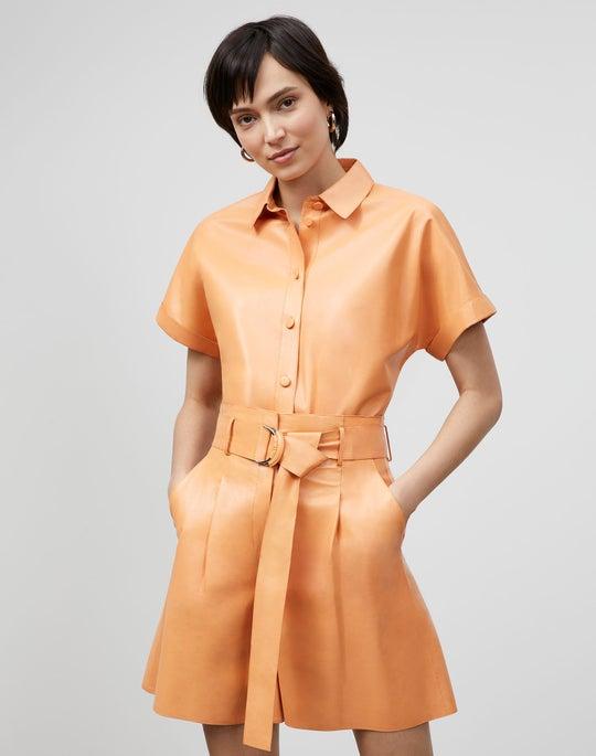 Darby Shirt In Lightweight Plonge Lambskin