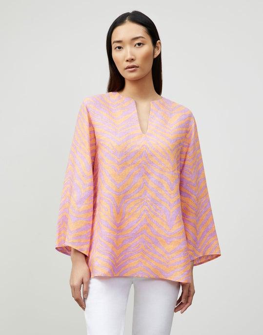 Plus-Size Hawley Blouse In Zevron Print Linen