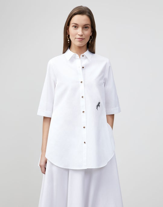 Petite Sedwick Shirt In Embroidered Italian Sculpted KindCotton