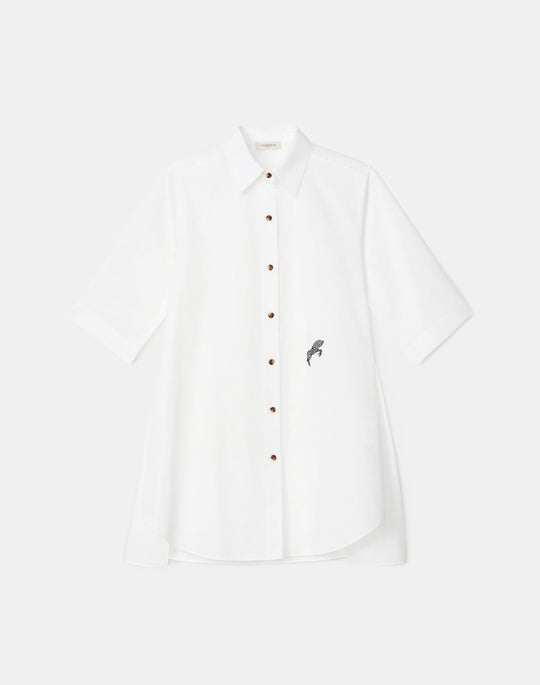 Plus-Size Sedwick Shirt In Embroidered Italian Sculpted KindCotton