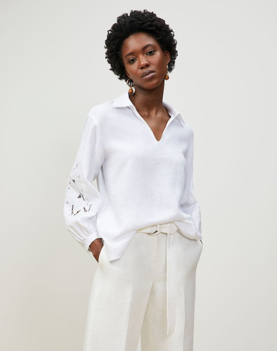 Parker Blouse In Embroidered Summer Linen