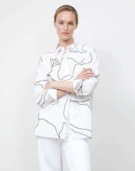 Elise Shirt In Winding Leaf Print Italian Cotton