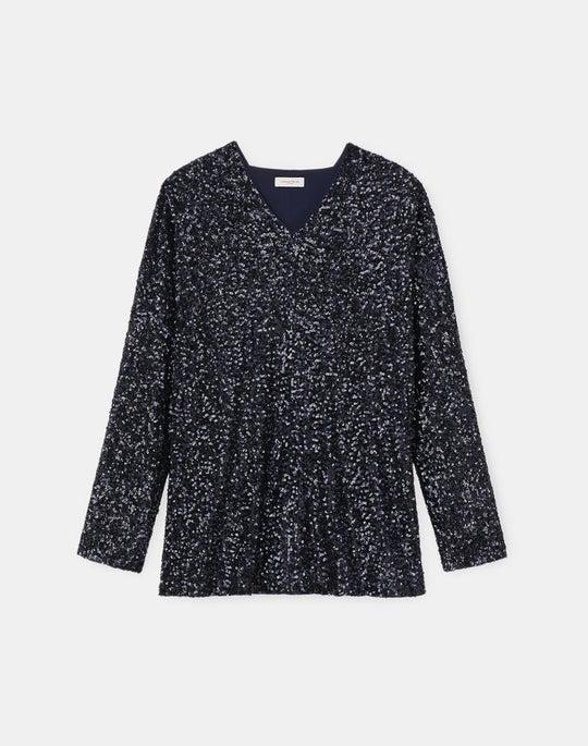 Plus-Size Idra Sequin Blouse