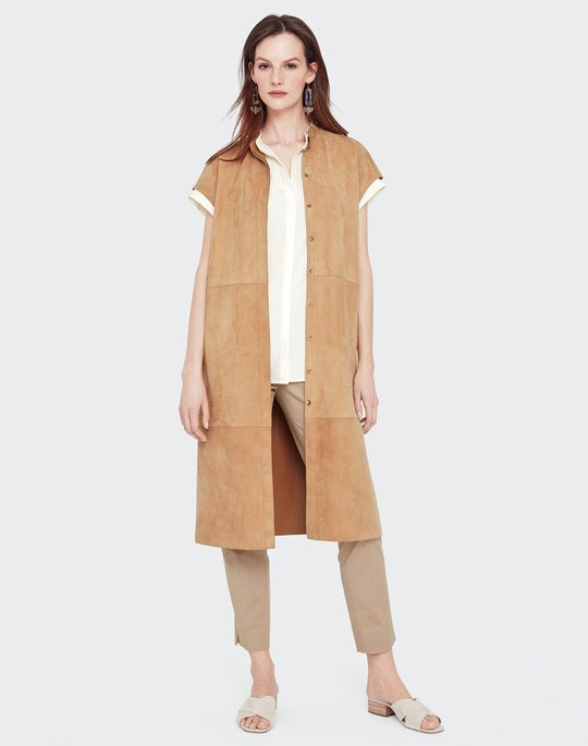 Luxuriant Lambsuede Long Antonella Duster