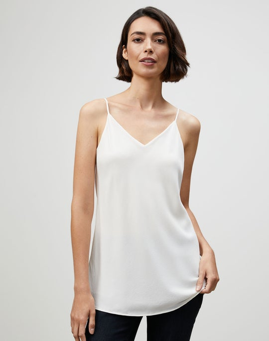Lightweight Sandwashed Silk Eva Bias Tank