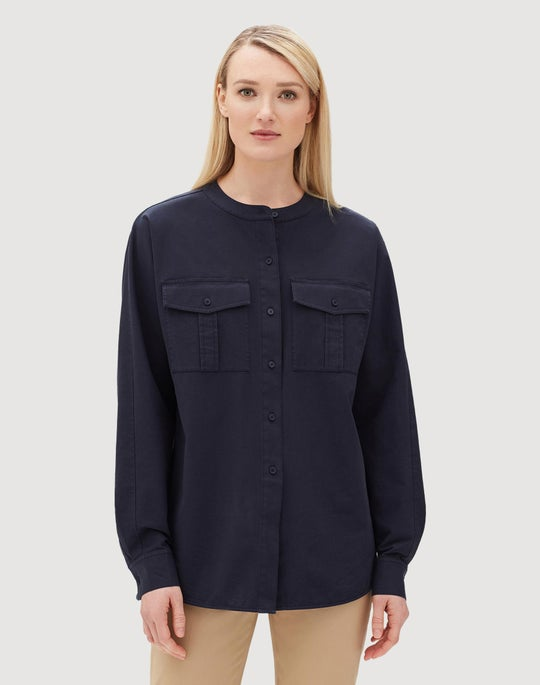 Italian Pima Bi-Stretch Cotton Zuma Blouse
