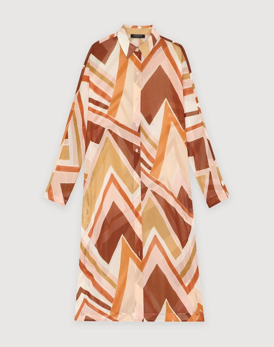 Plus-Size Modernist Chevron Georgette Kyrie Duster