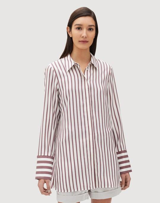 Showcase Micro Silk Stripe Waylon Blouse