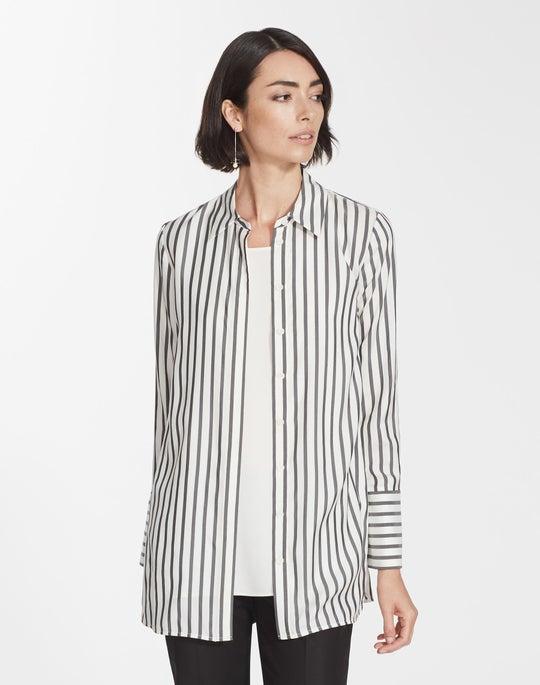 Plus-Size Showcase Micro Stripe Silk Waylon Blouse