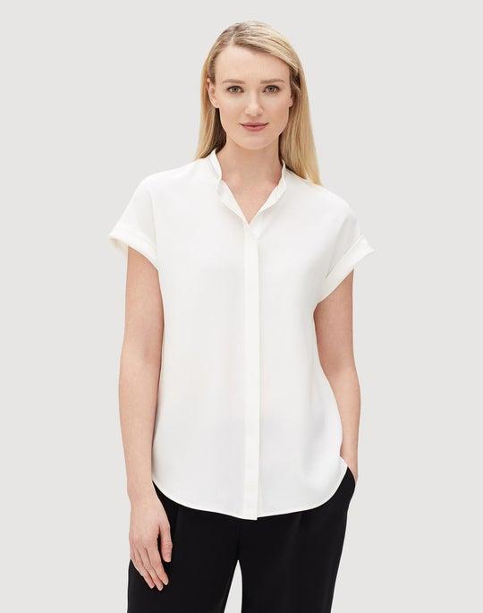 Plus-Size Matte Silk Camilla Blouse