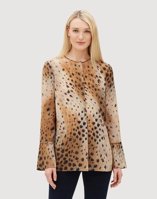 Petite Agave Leopard Silk Izzie Blouse