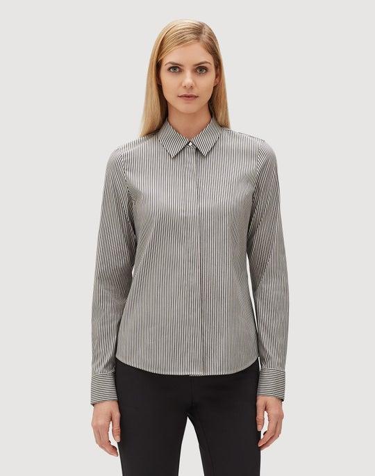 Plus-Size Captivating Lurex Stripe Shirting Phaedra Blouse