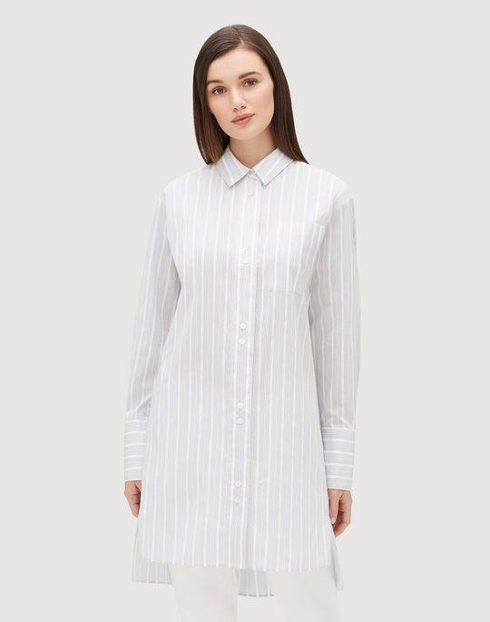 Plus-Size Boulevard Silk Stripe Marvin Oversized Boyfriend Shirt