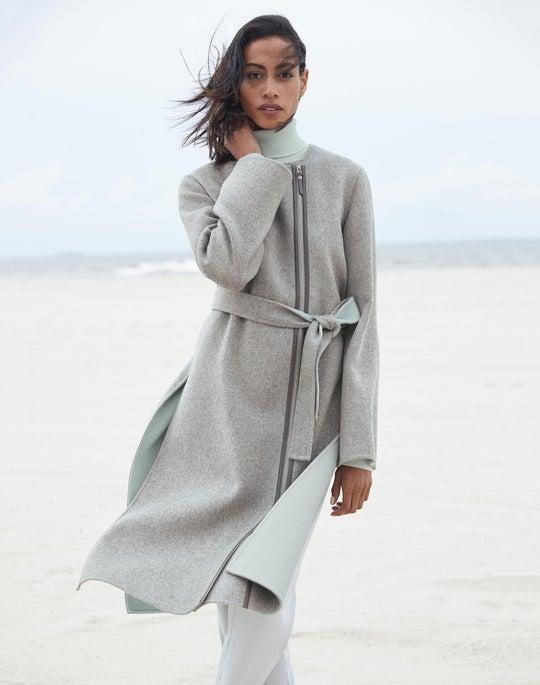 Parissa Coat and Cashmere Lurex Trim Turtleneck
