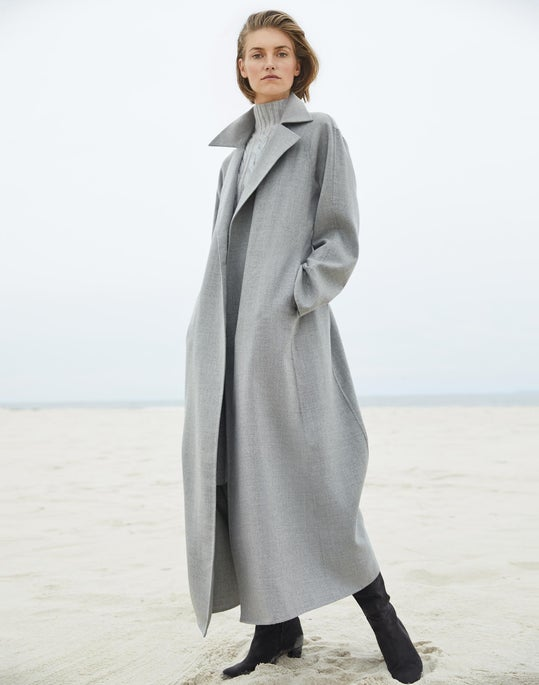 Kalena Coat and Cashmere Cabled Sweater Dress