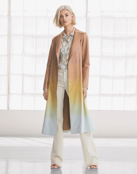 Leather Avrielle Trench Coat and Mercer Flare Jean
