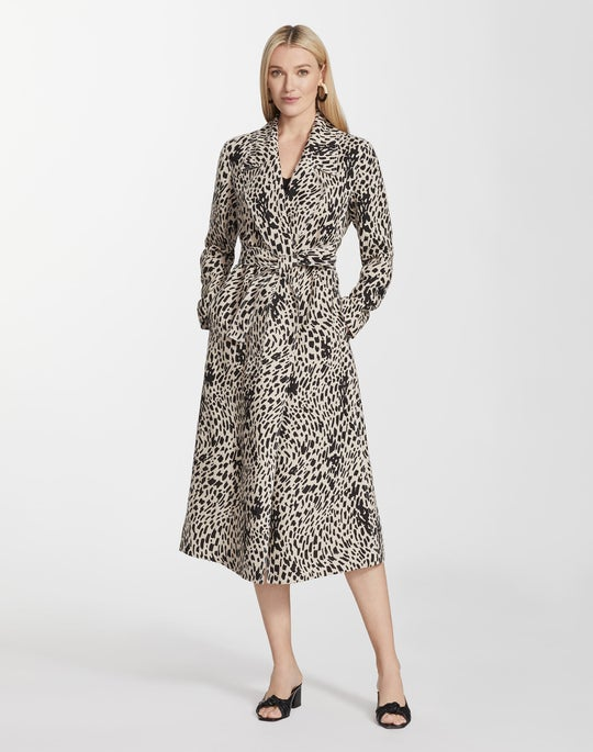 Cheetah Print Linen Zelida Trench Coat