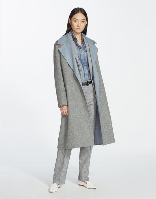 Plus-Size Two-Tone Double-Face Reversible Zelida Coat