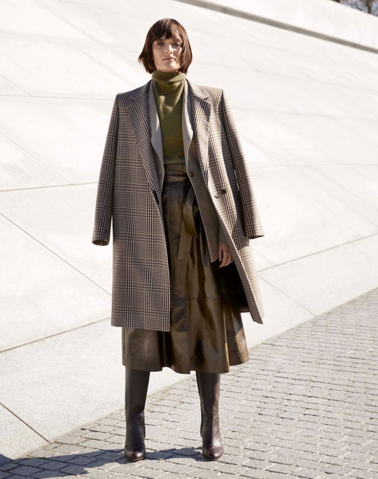 Emmalyse Coat and Leather Cass Skirt