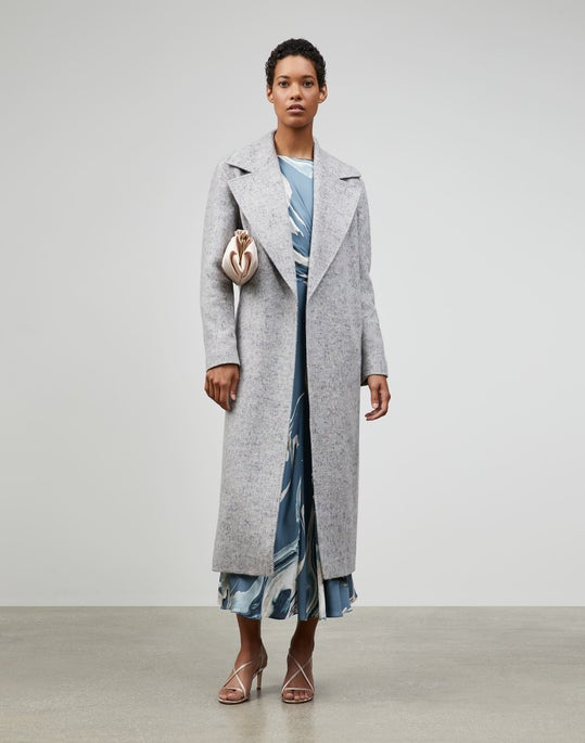Muted Herringbone Wool-Cashmere Coating Orson Coat