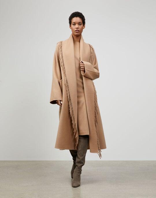 Luxe Cashmere Reversible Fringed Everett Coat
