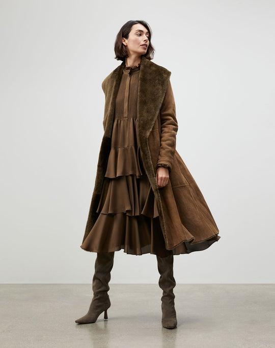 Sleek Merino Shearling Ashford Coat