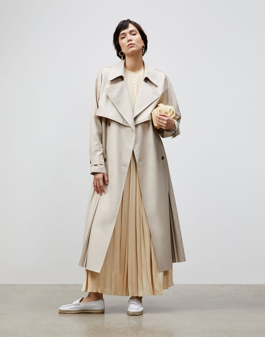 Blake Trench Coat In Sculpted Pleating Cloth