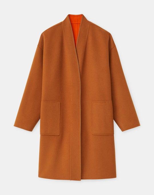 Julien Reversible Coat In Two-Tone Double Face