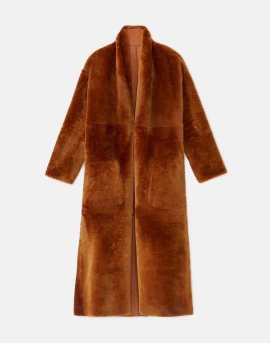 Julien Reversible Coat In Sleek Merino Shearling