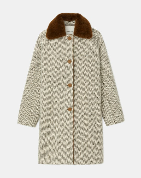 Colton Coat In Mink-Trimmed Italian Herringbone Wool-Cashmere