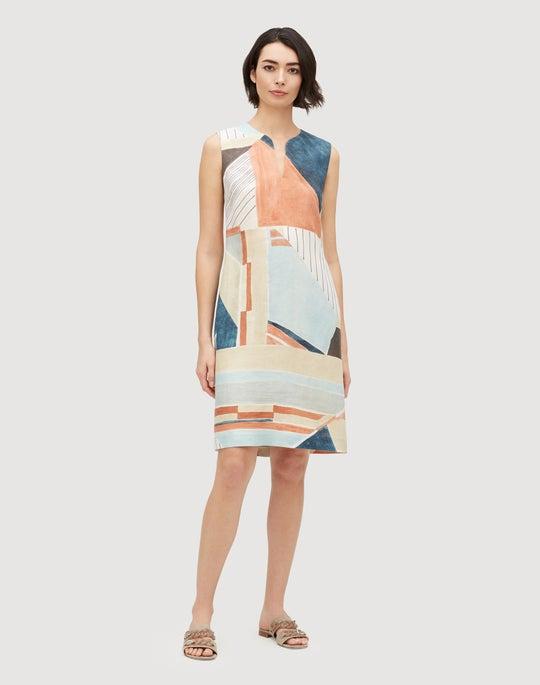 Sunwashed Cityscape Linen Taren Dress