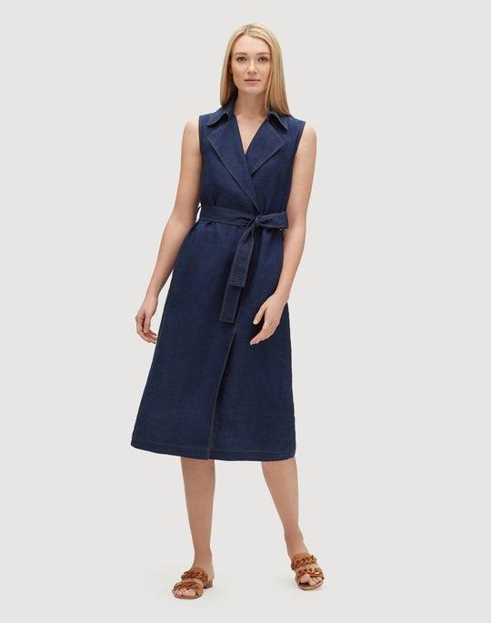 Indigo Linen Florence Dress