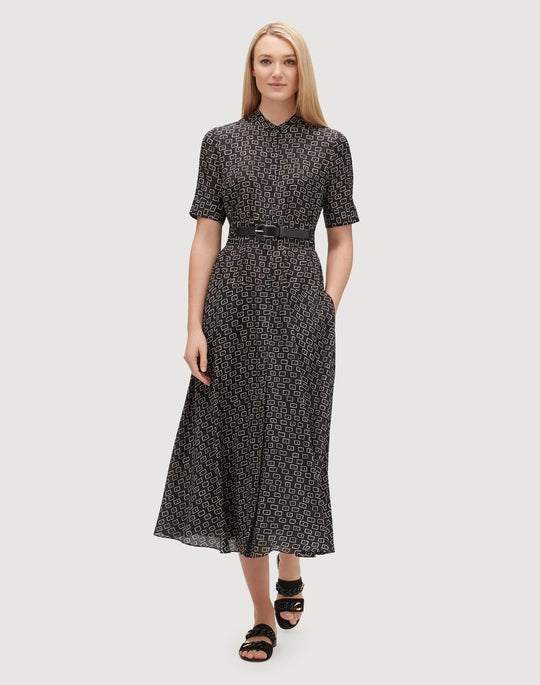 Plus-Size Piazza Print Silk Augustina Dress
