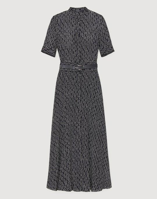 Petite Piazza Print Silk Augustina Dress