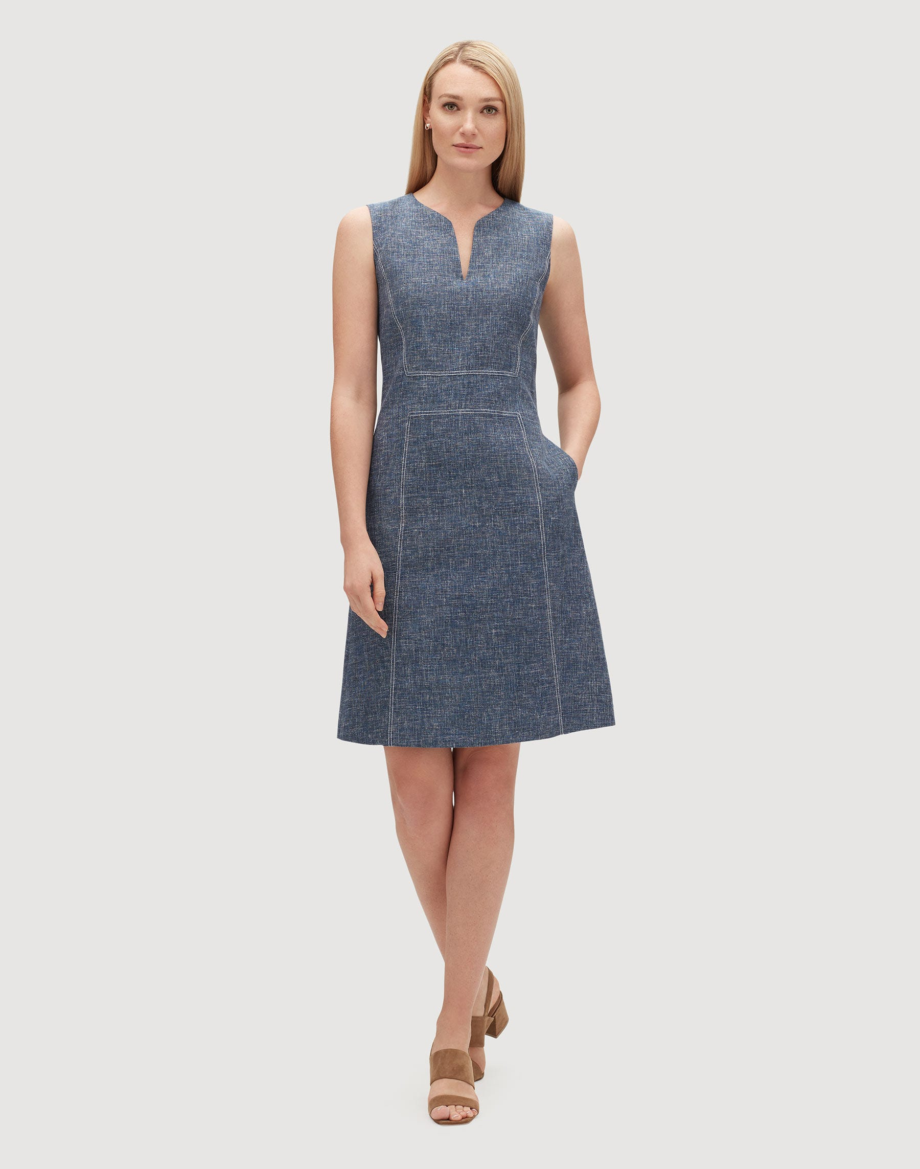 Plus-Size Sublime Space Dye Cotton-Linen Brett Dress | Lafayette 148 ...