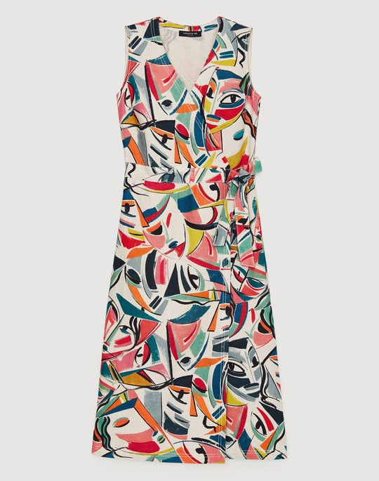 Carnevale Print Linen Pammie Dress