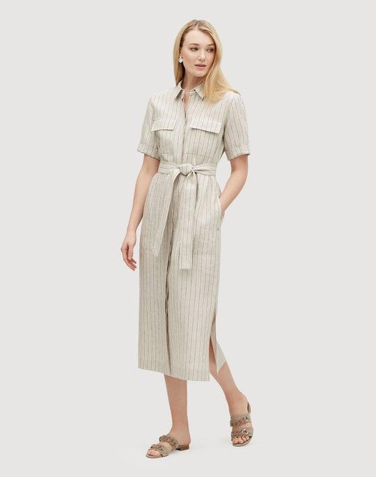 Sun Dance Stripe Short Sleeve Midi Doha Shirtdress