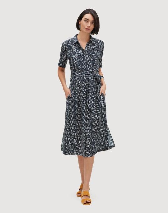Plus-Size Mini Mesa Print Silk Short Sleeve Midi Doha Shirtdress