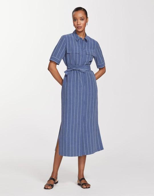 Stately Stripe Short Sleeve Doha Shirtdress